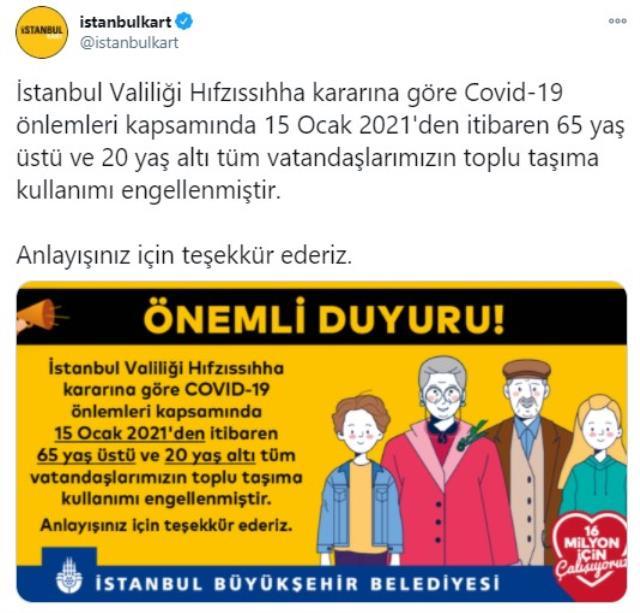 İstanbul'da 65 yaş üstü ve 20 yaş altı 15 Ocak'tan itibaren toplu taşıma kullanamayacak